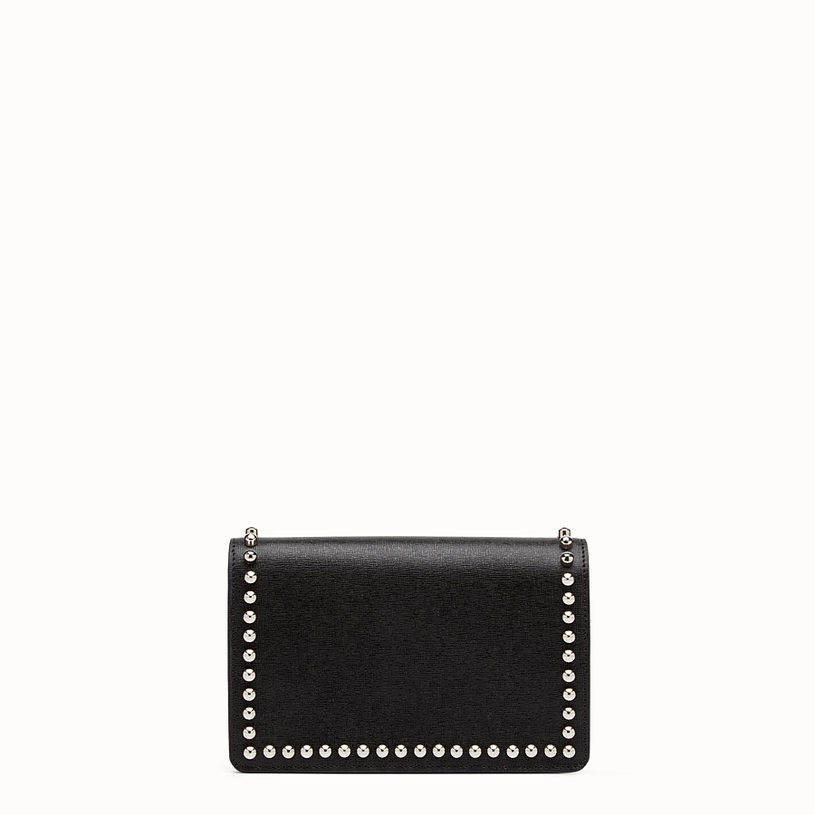 FENDI KARLITO WALLET ON CHAIN - in black leather with inlay - view 3 detail