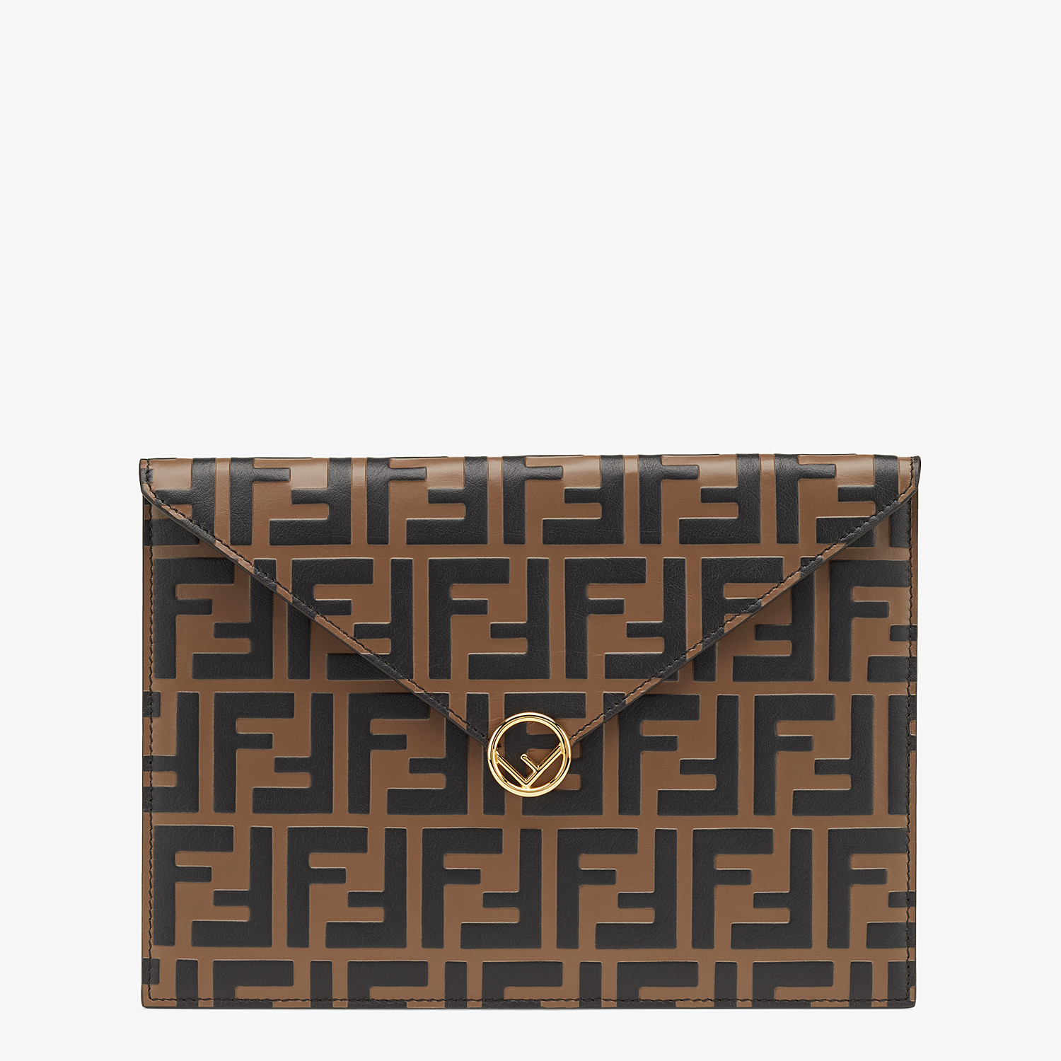 FENDI FLAT POUCH - Brown leather pouch - view 1 detail