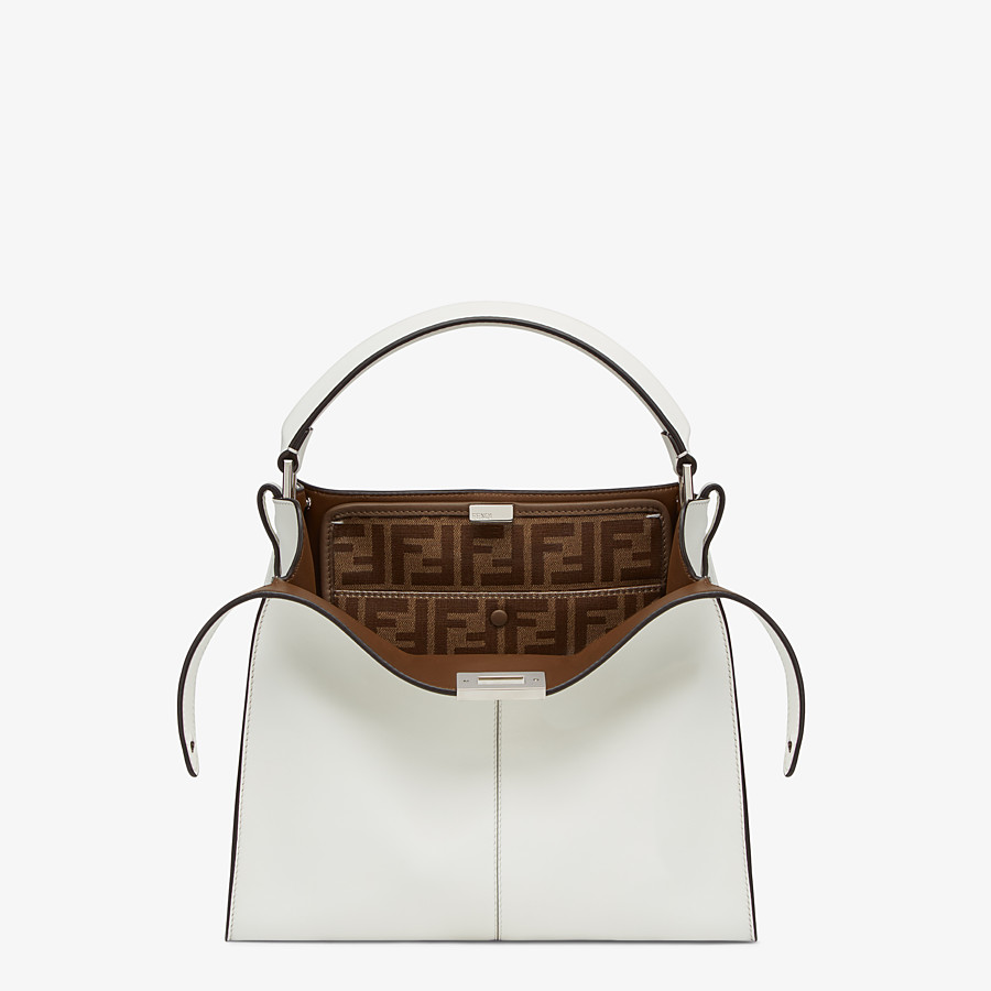 FENDI MEDIUM PEEKABOO X-LITE - White leather bag - view 1 detail