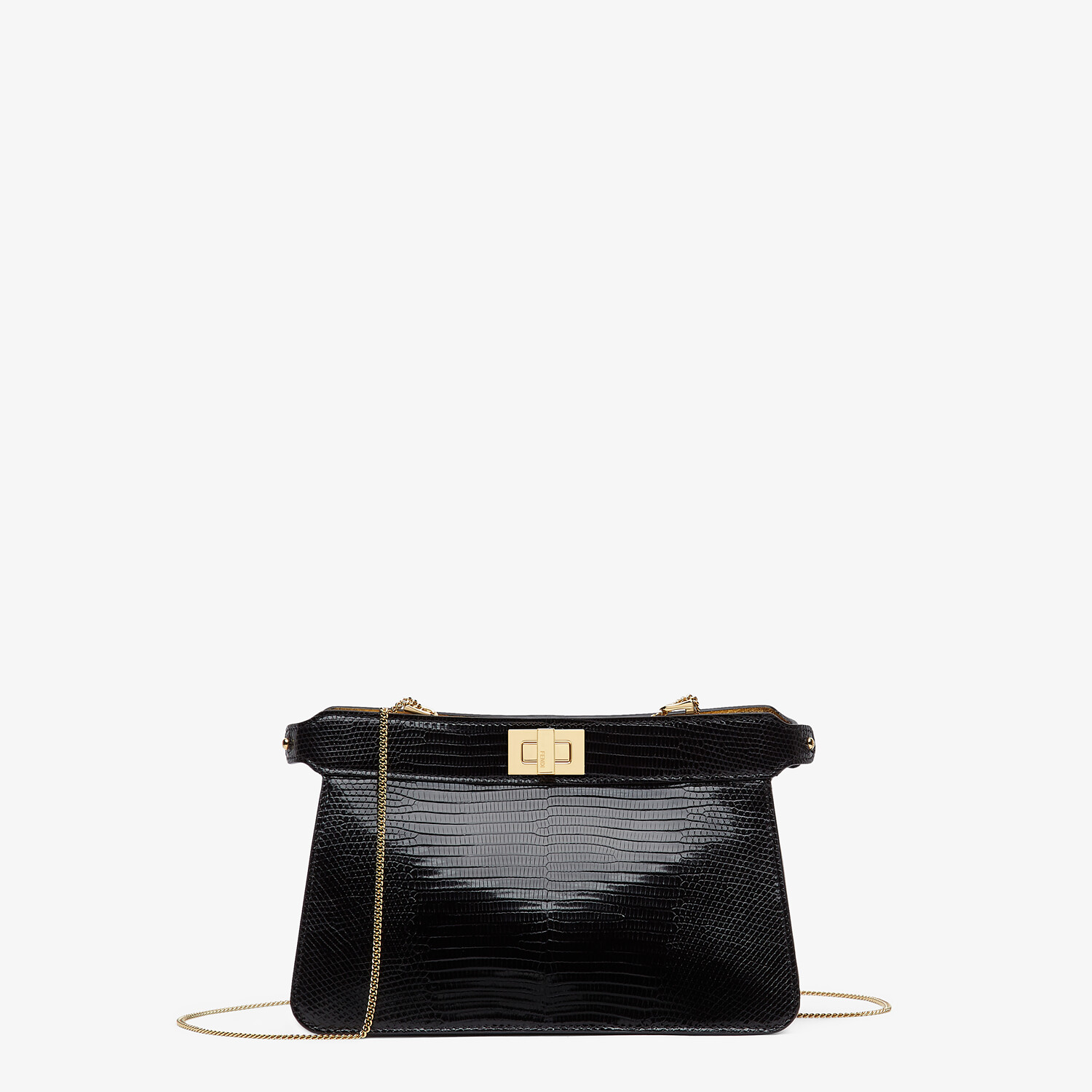 FENDI PEEKABOO ISEEU POCHETTE - Black lizard leather bag - view 1 detail