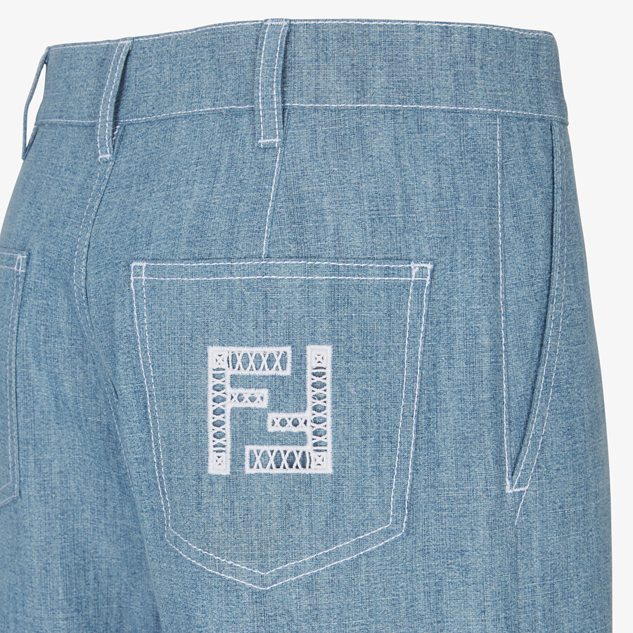 FENDI TROUSERS - Light blue chambray trousers - view 3 detail