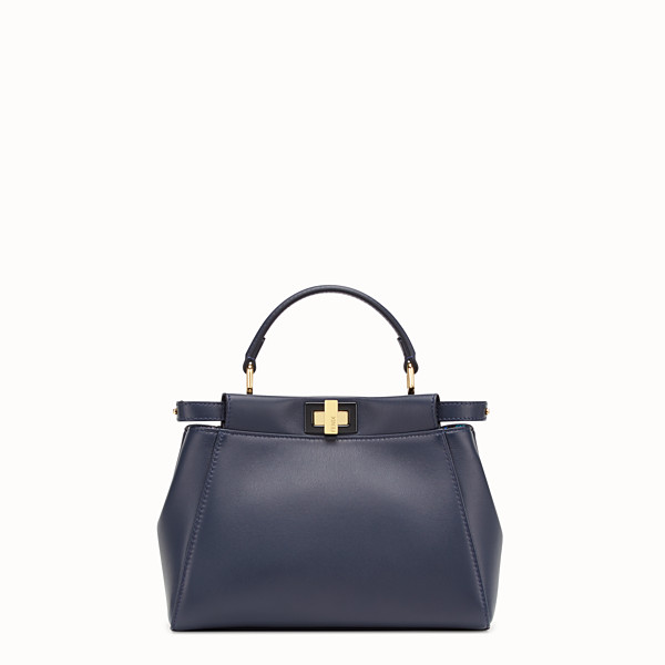 FENDI PEEKABOO MINI - Midnight-blue leather bag - view 1 small thumbnail
