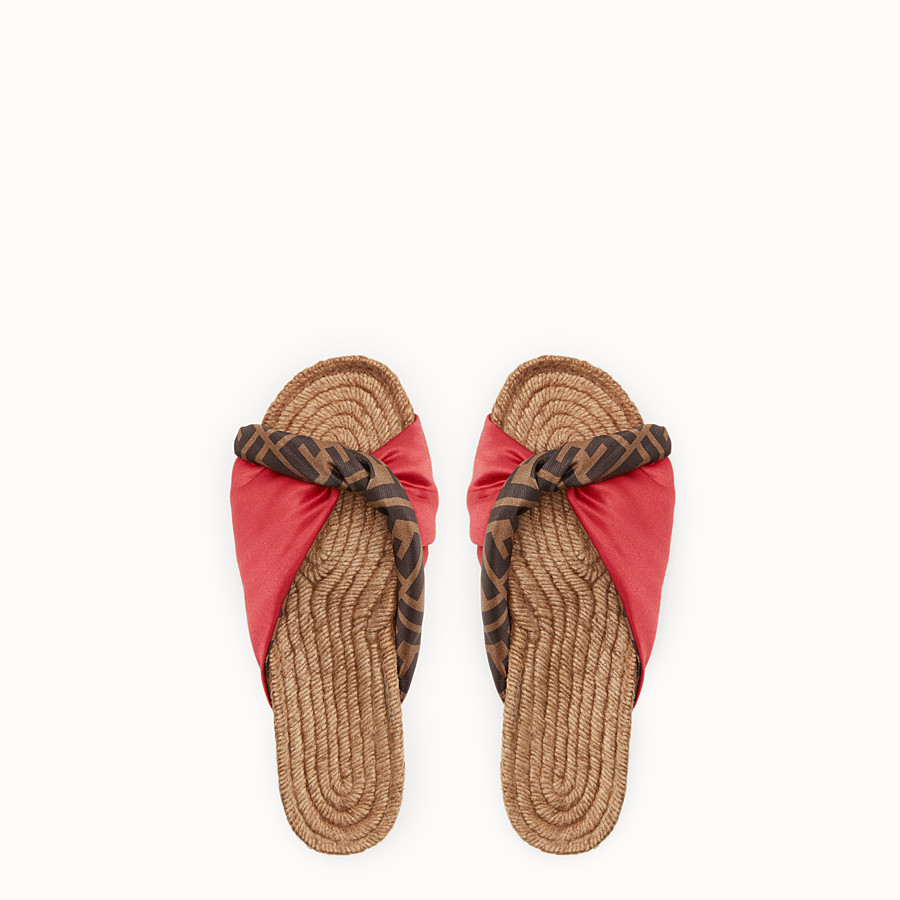 FENDI SANDALS - Red satin slides - view 4 detail