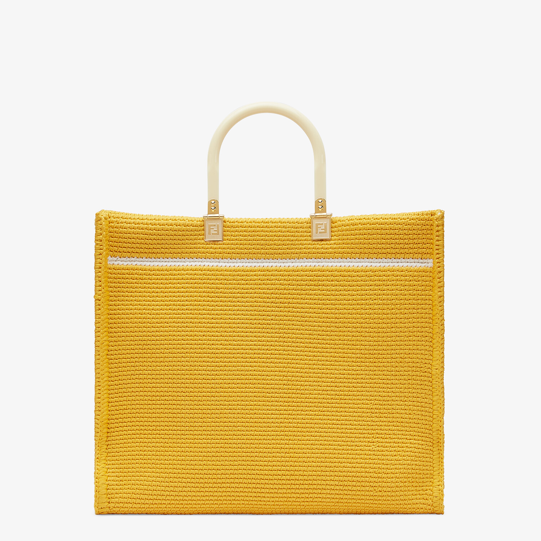 FENDI FENDI SUNSHINE MEDIUM - Yellow cotton crochet shopper - view 3 detail