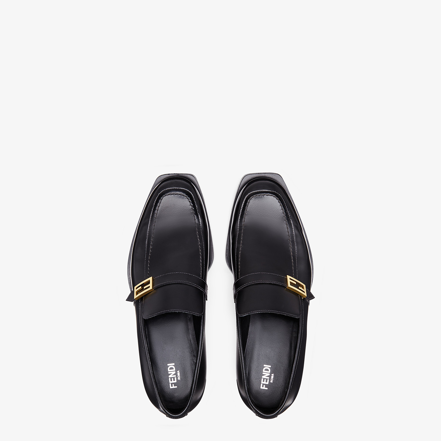 FENDI LOAFERS - Black leather loafers - view 4 detail