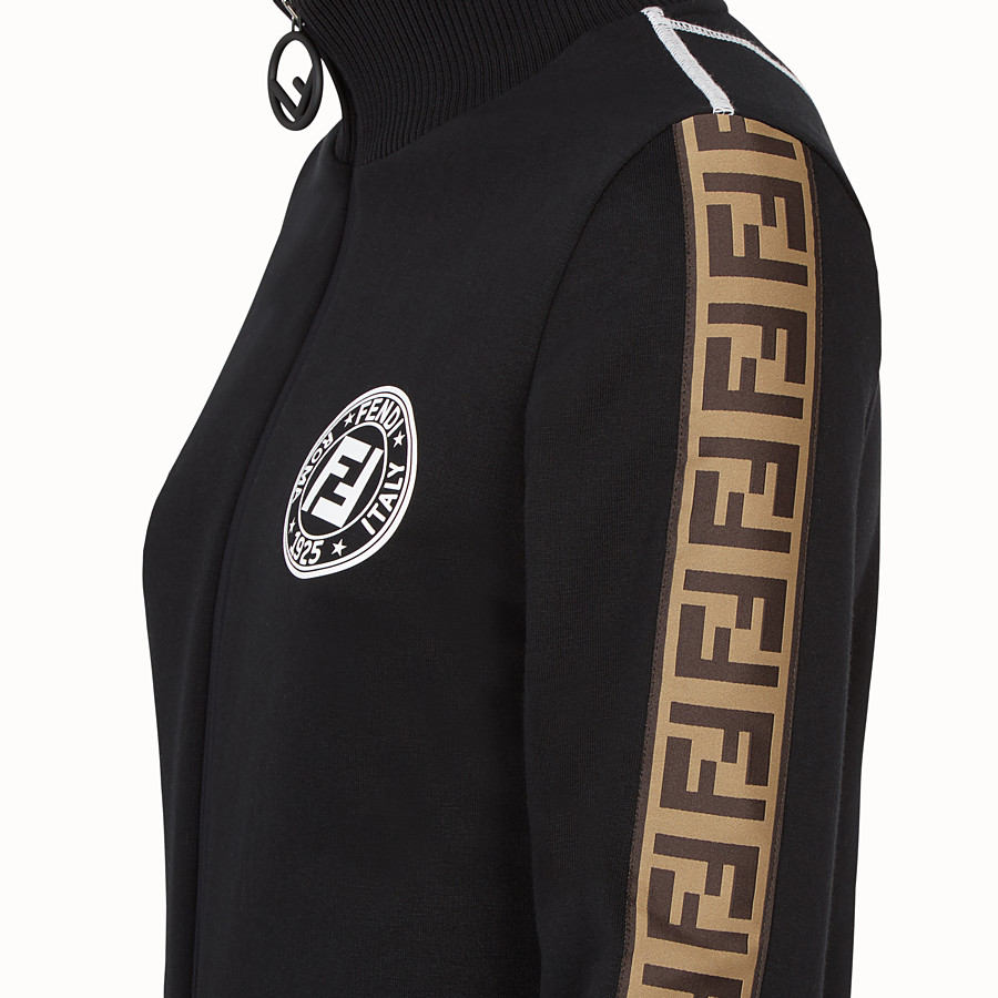 FENDI SWEATSHIRT WITH ZIP - Black cotton jersey sweatshirt - view 3 detail