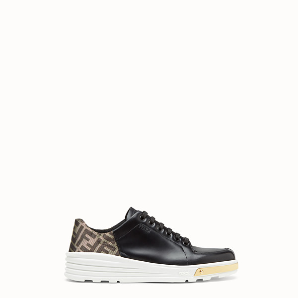 FENDI SNEAKERS - Black leather low-tops - view 1 small thumbnail