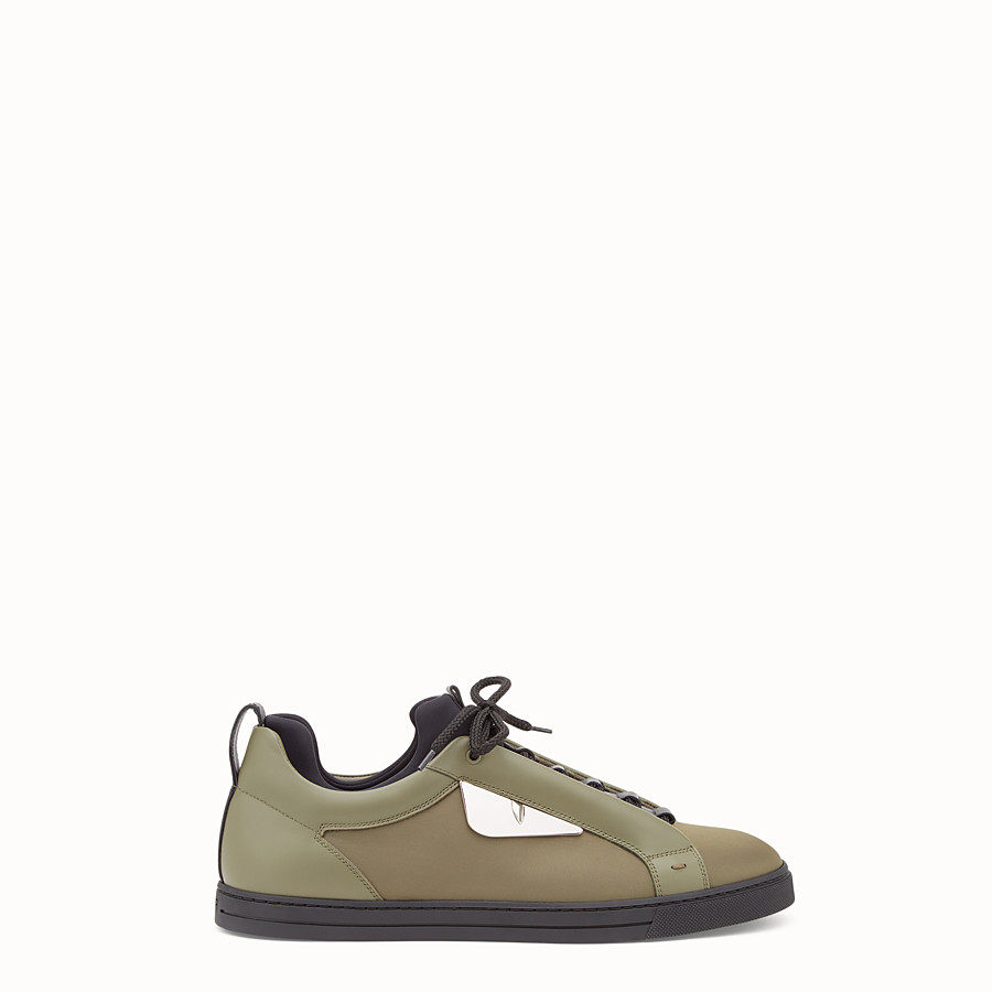 FENDI SNEAKER - Green leather and nylon lace-ups - view 1 detail