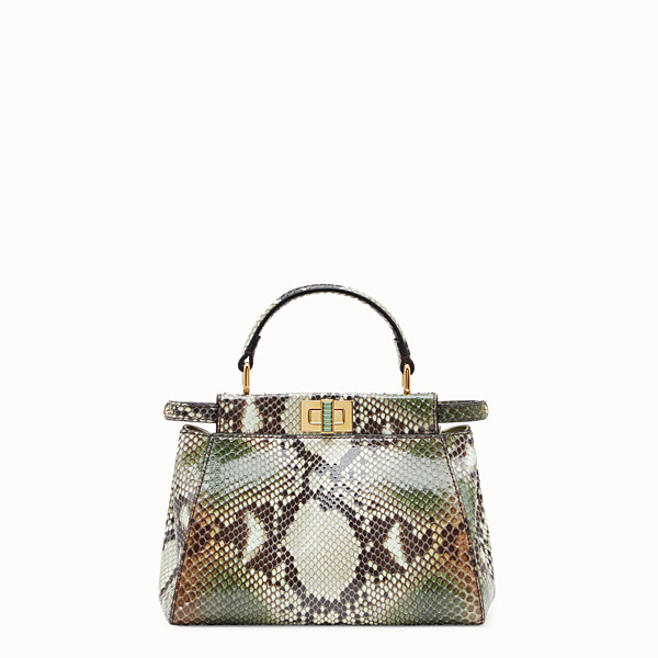 FENDI PEEKABOO ICONIC MINI - Borsa in pitone verde - vista 1 thumbnail piccola
