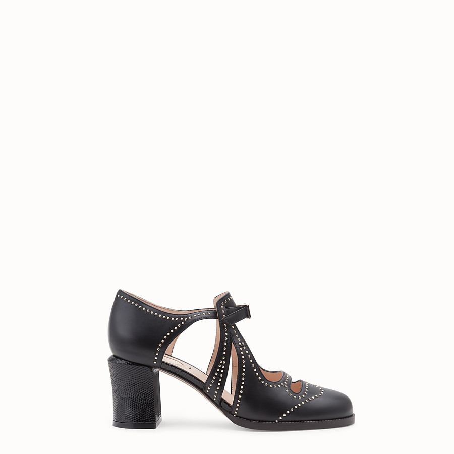 FENDI SANDALS - Black leather court shoes - view 1 detail
