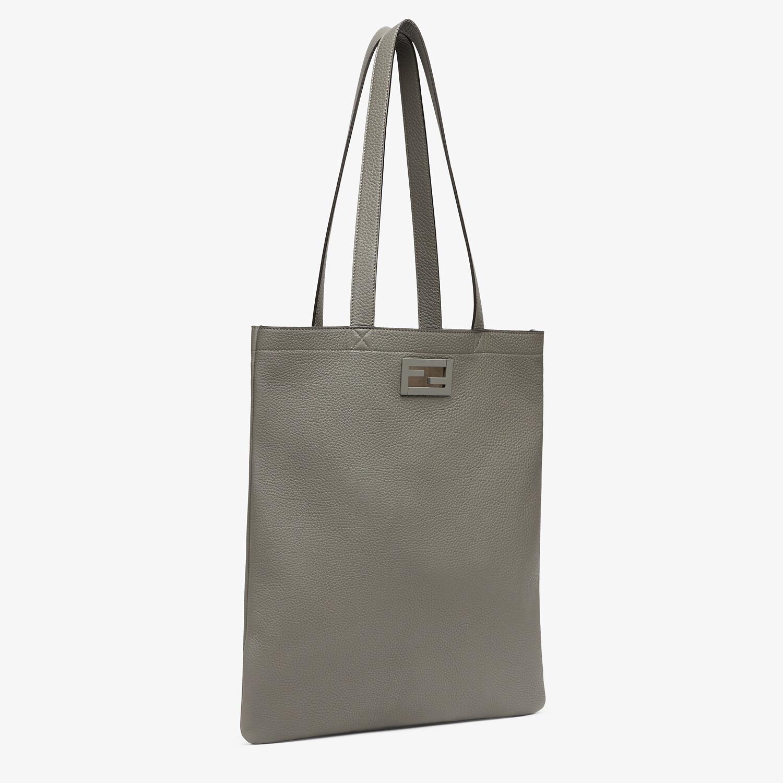 FENDI FLAT BAGUETTE SHOPPING BAG - Light gray leather bag - view 2 detail