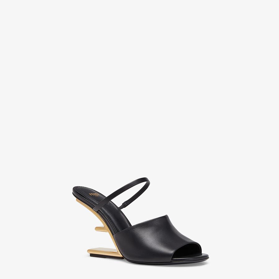 FENDI FENDI FIRST - Black leather high-heeled sandals - view 2 detail