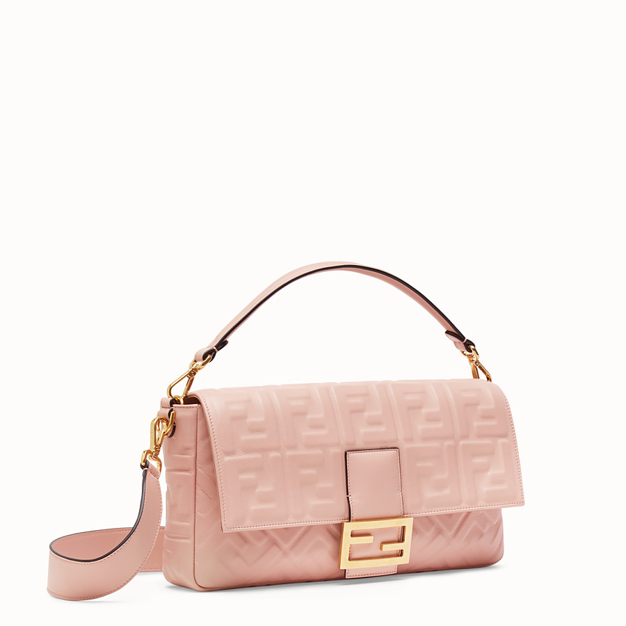 FENDI BAGUETTE LARGE - Pink nappa leather bag - view 3 detail