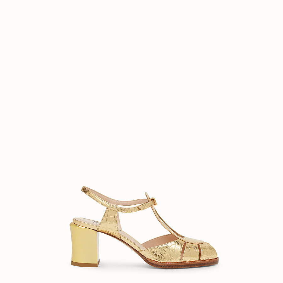 FENDI SANDALS - Gold leather sandals - view 1 detail