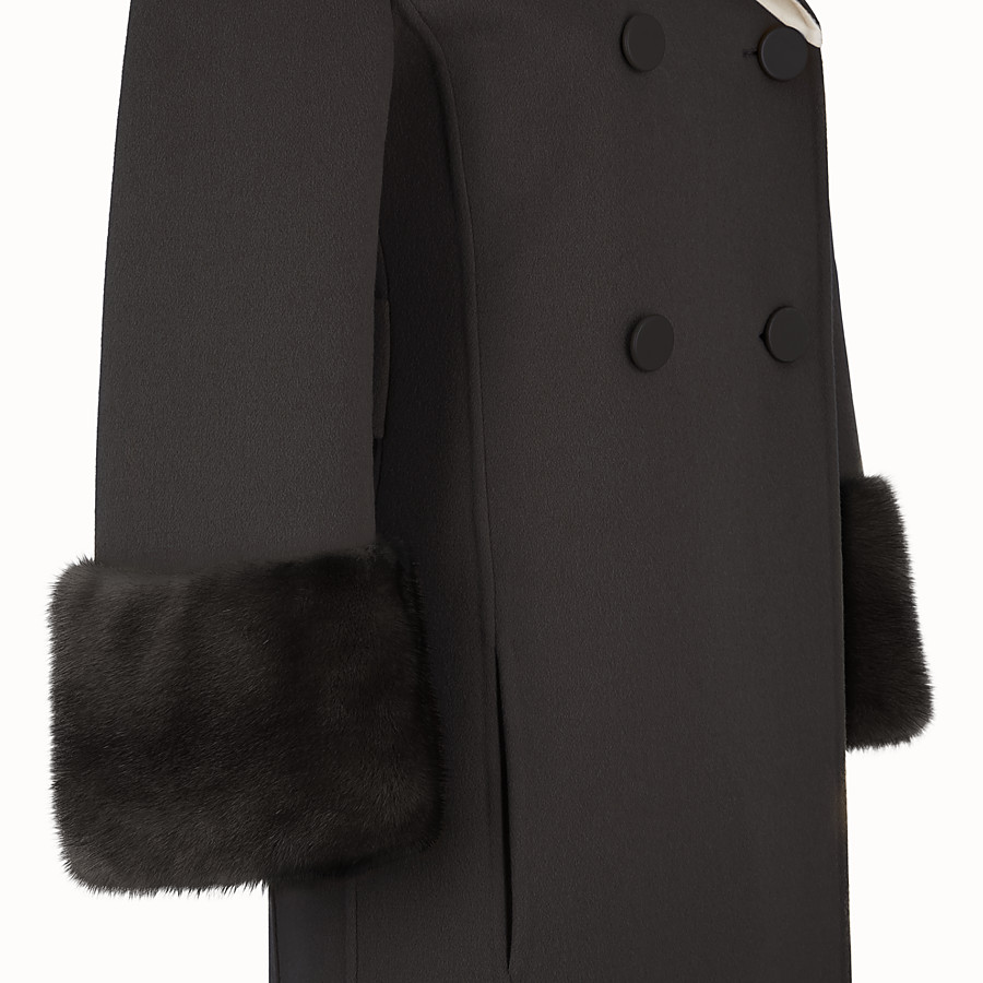 FENDI OVERCOAT - Black wool overcoat - view 3 detail