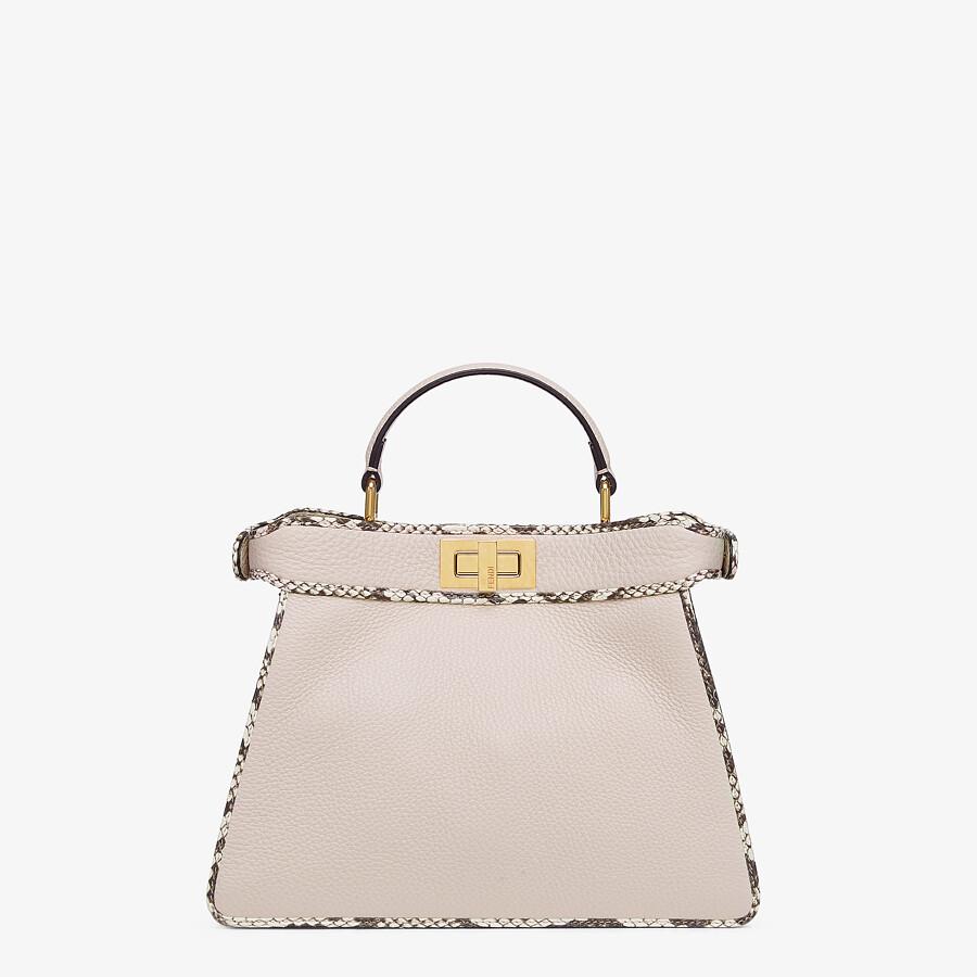 FENDI PEEKABOO ISEEU SMALL - White full grain leather and elaphe bag - view 3 detail