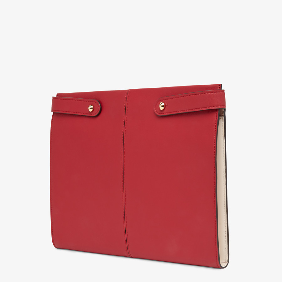 FENDI PORTEMONNAIE-CLUTCH - Clutch aus Leder in Rot - view 3 detail