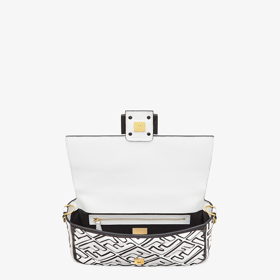 FENDI BAGUETTE - White nappa leather FF print bag - view 5 detail