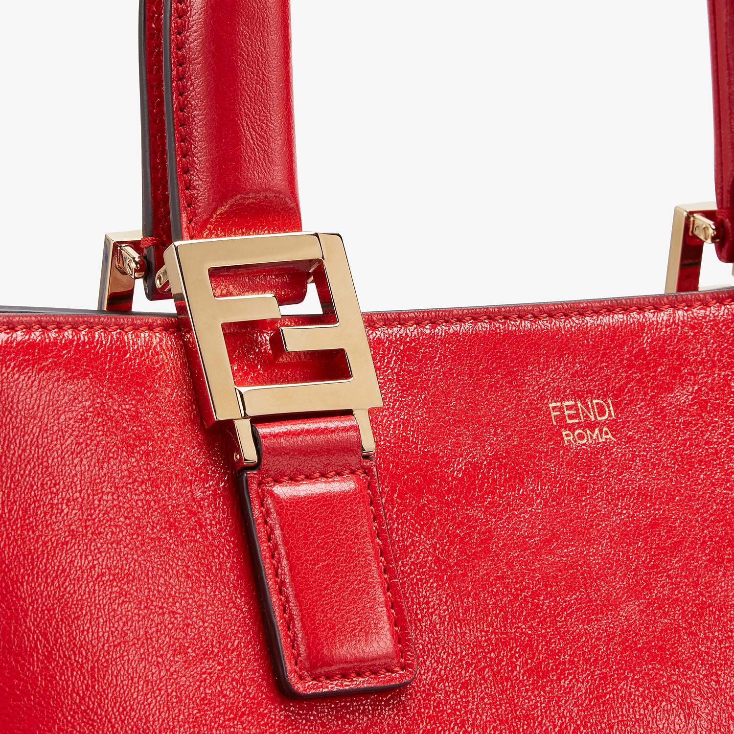 FENDI FF TOTE SMALL - Red leather bag - view 6 detail