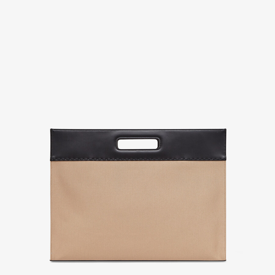 FENDI SHOPPING BAG - Beige canvas shopper - view 4 detail