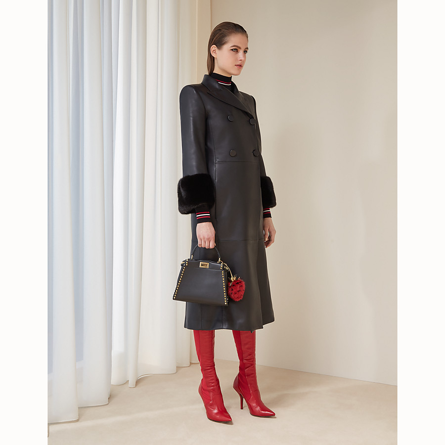 FENDI OVERCOAT - Black leather coat - view 4 detail