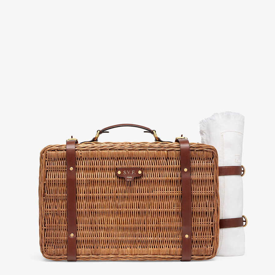 FENDI PICNIC BASKET - Beige wickerwork basket - view 1 detail