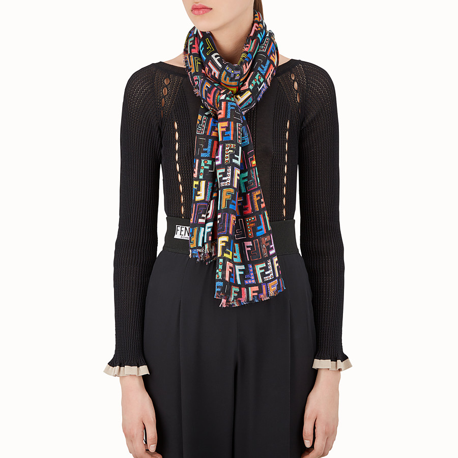 FENDI FUN FAIR MAXI STOLE - Multicolor cashmere blend stole - view 3 detail