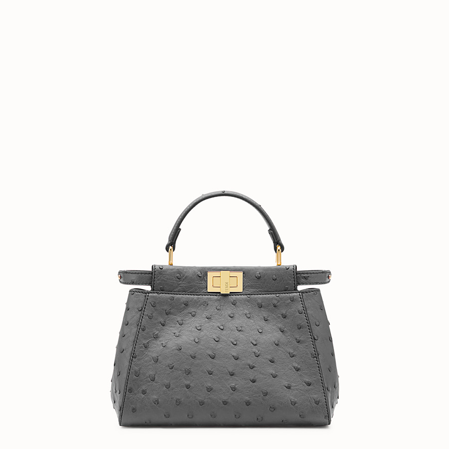 FENDI PEEKABOO ICONIC MINI - Grey ostrich leather handbag. - view 1 detail