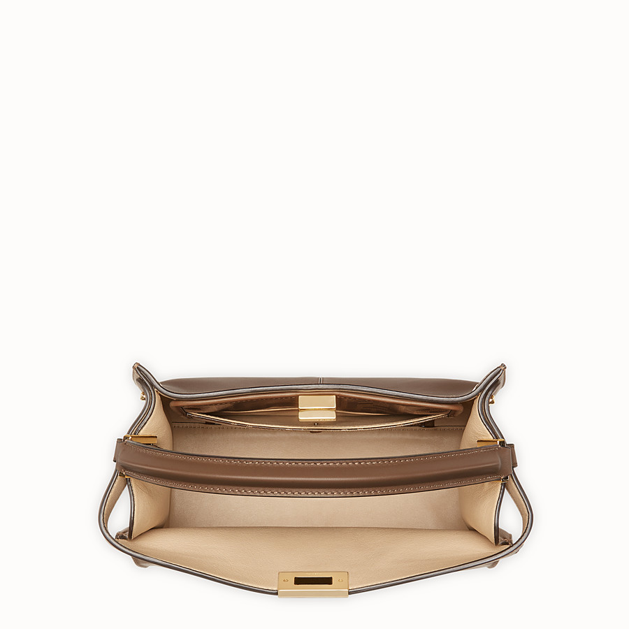 FENDI PEEKABOO X-LITE REGULAR - Brown leather bag - view 5 detail