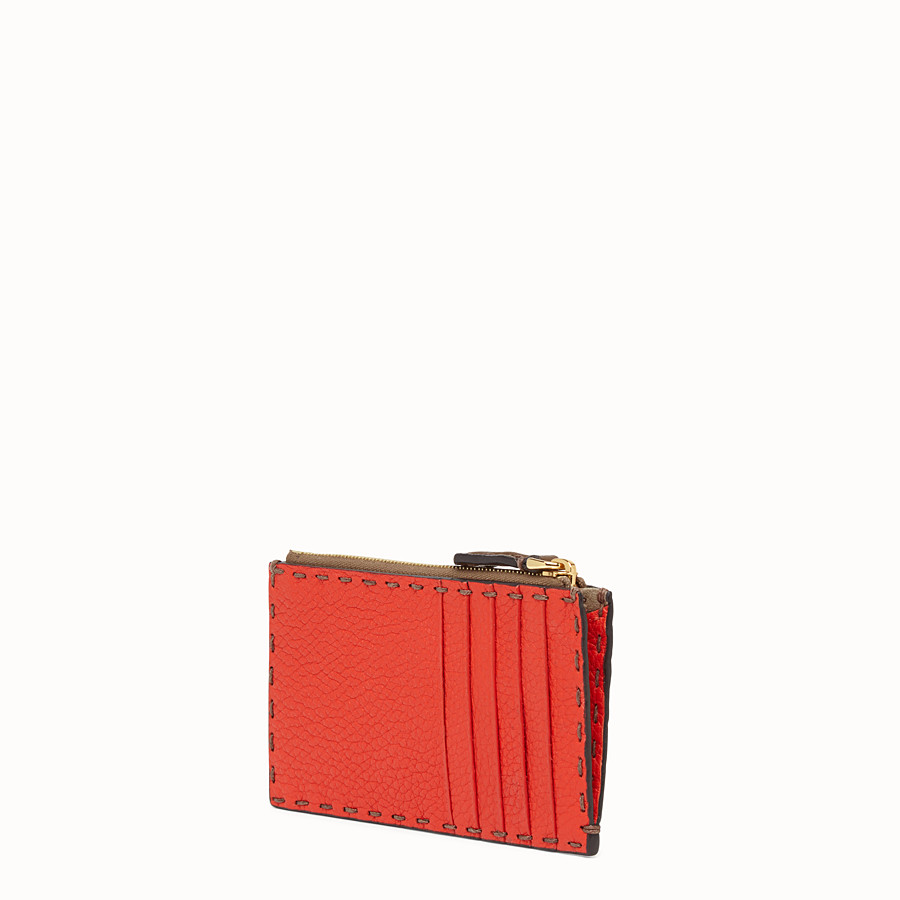 FENDI CARD POUCH - Brown leather pouch - view 2 detail