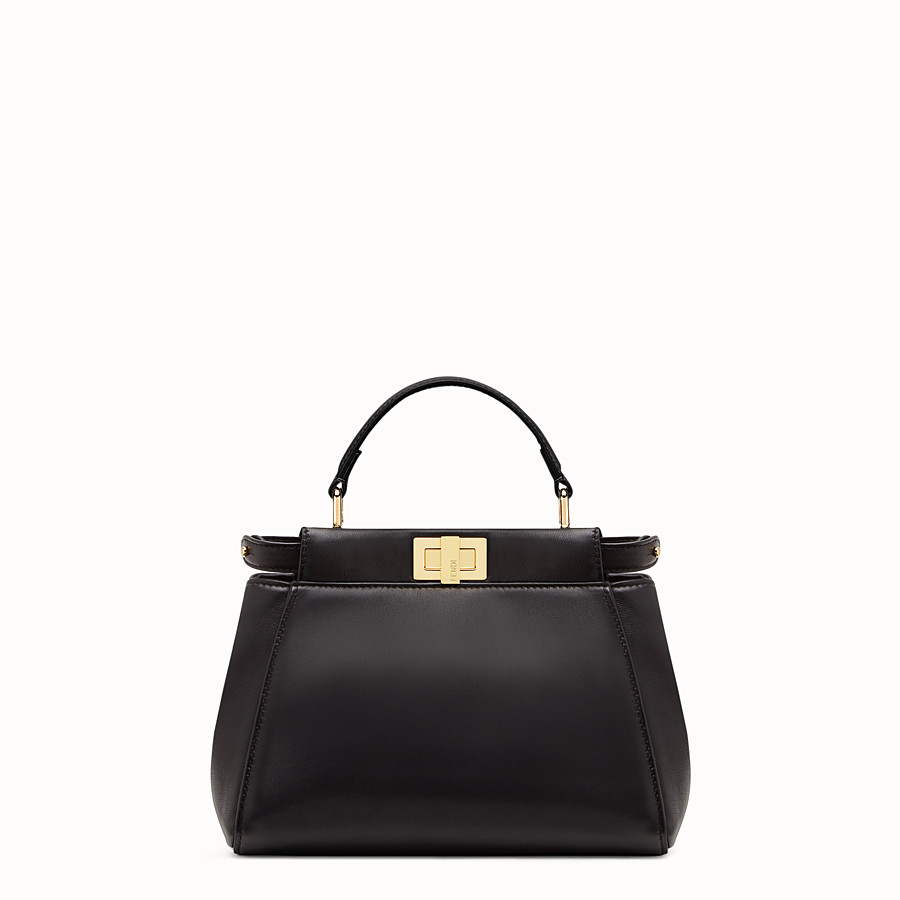 FENDI PEEKABOO ICONIC MINI - Black nappa handbag - view 1 detail