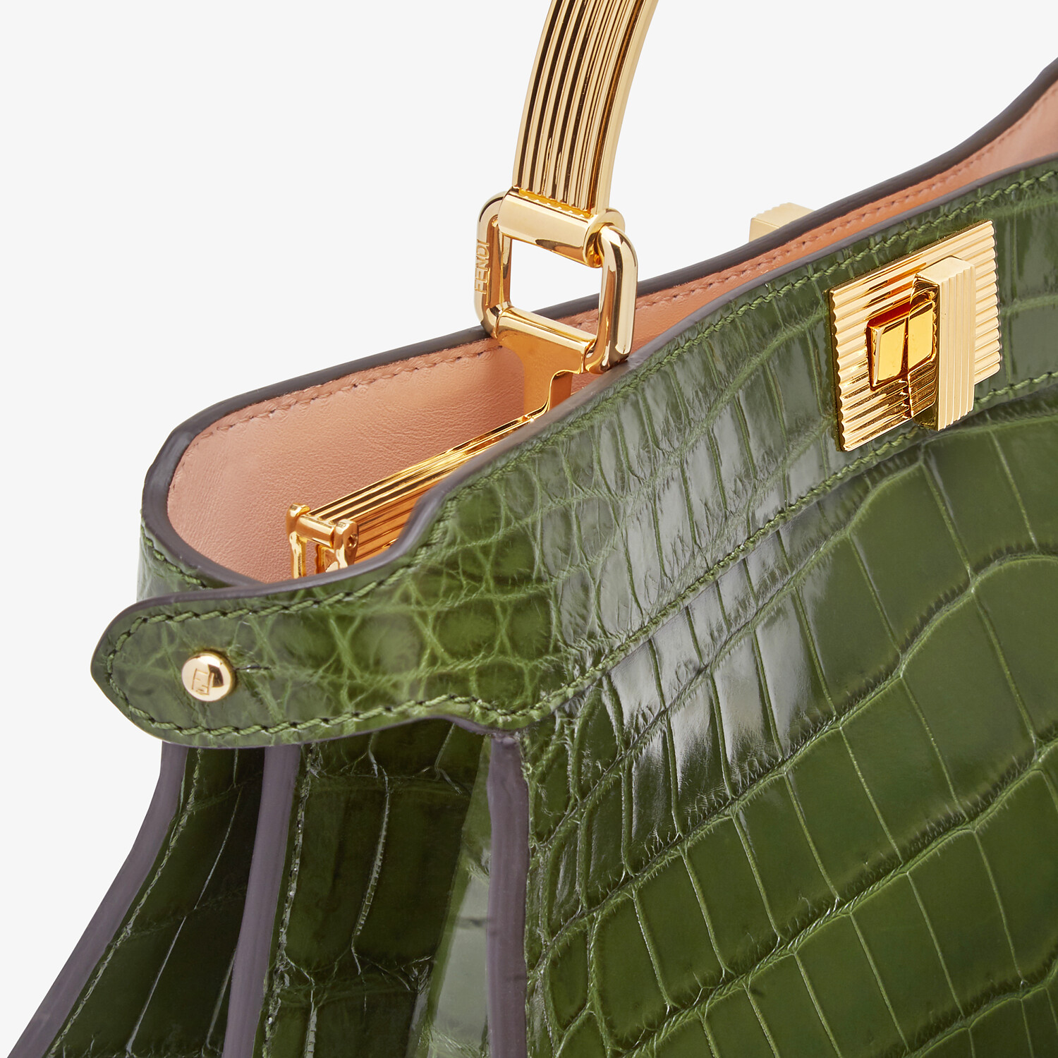 FENDI PEEKABOO I SEE U EAST-WEST - Green crocodile bag - view 6 detail