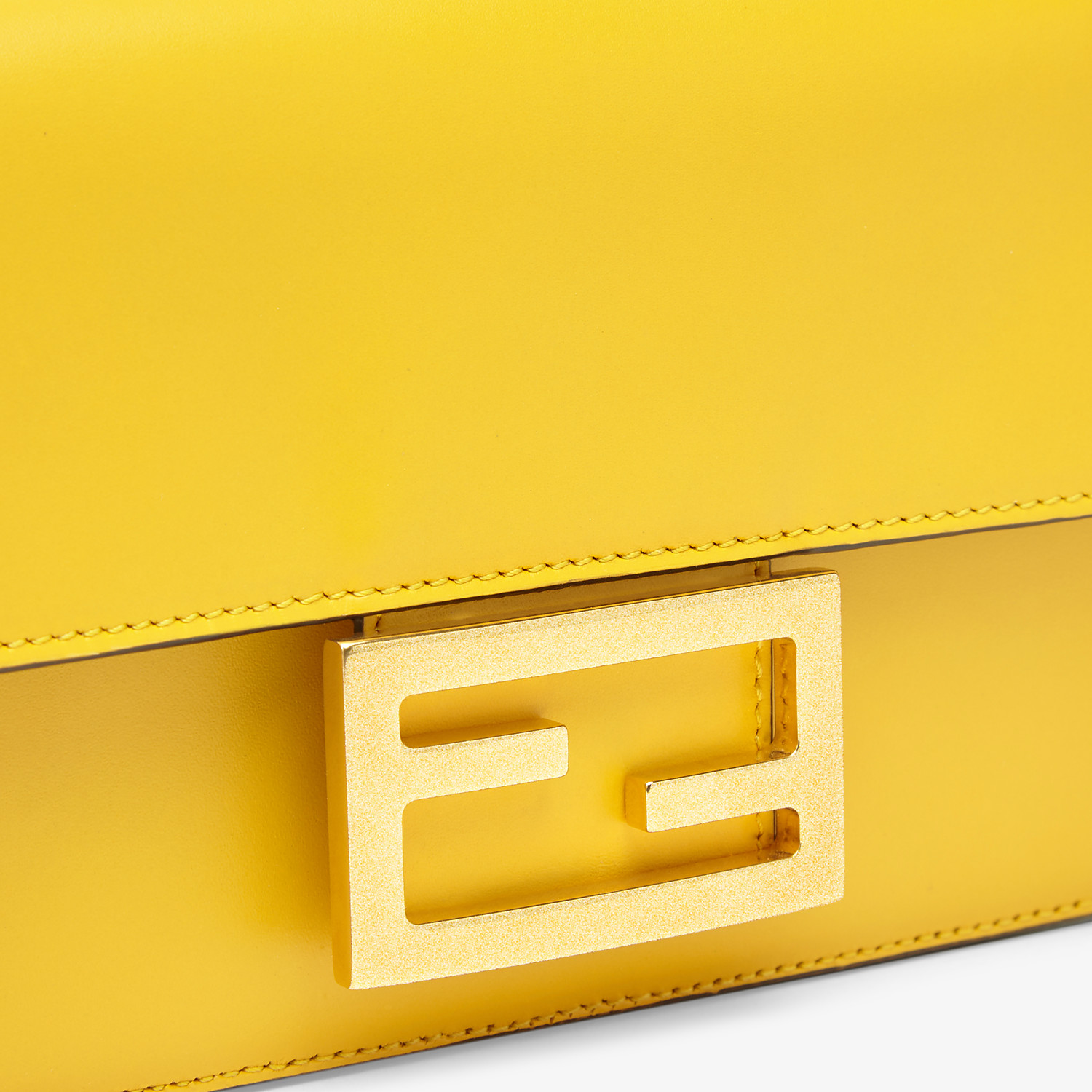 FENDI FLAT BAGUETTE - Yellow leather mini-bag - view 6 detail