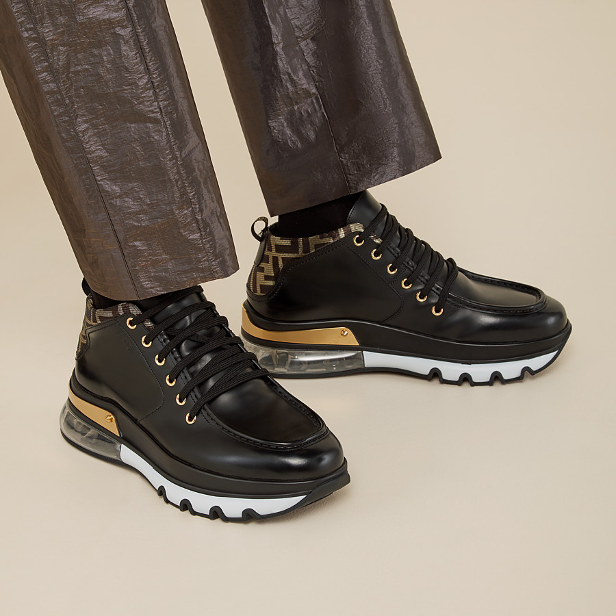 FENDI SNEAKERS - Black leather lace-up - view 5 detail