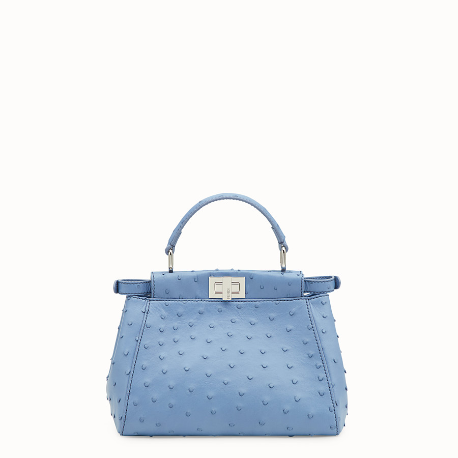 FENDI PEEKABOO ICONIC MINI - Light blue ostrich bag - view 3 detail