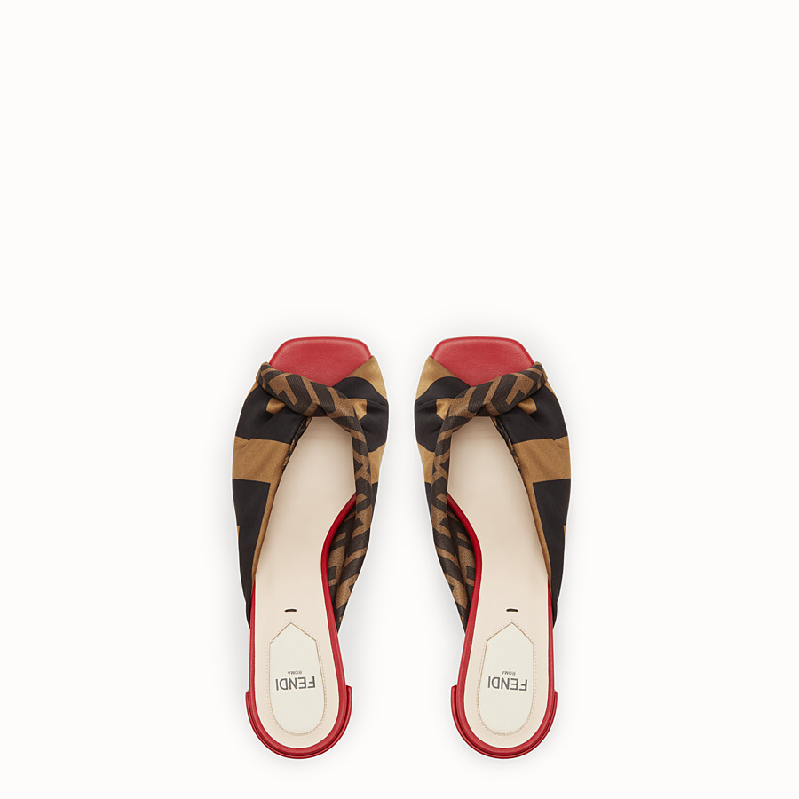 FENDI SABOTS - Multicoloured satin and nappa leather sandals - view 4 detail