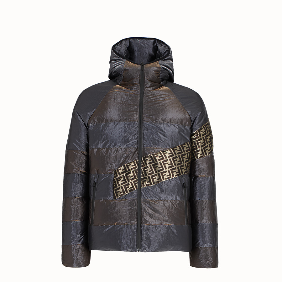 FENDI DOWN JACKET - Metallic tech fabric padded jacket - view 1 detail