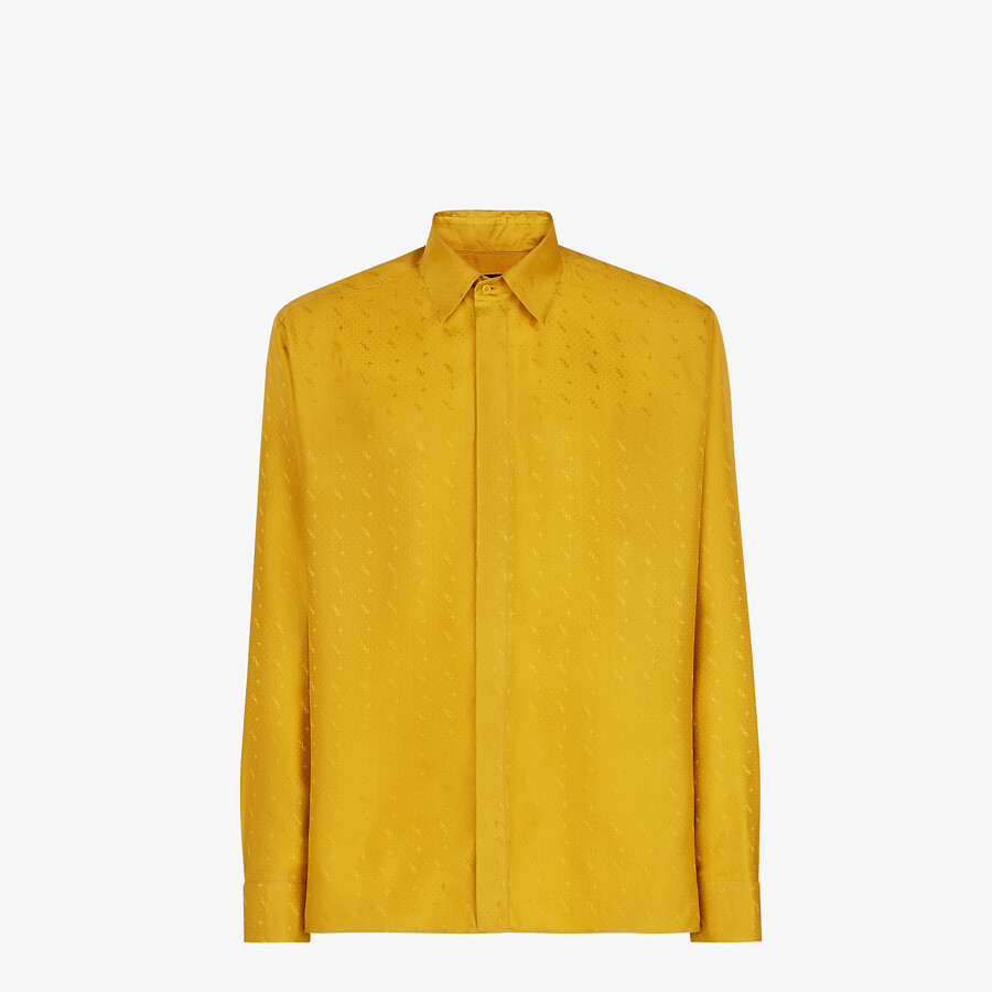 FENDI SHIRT - Yellow silk shirt - view 1 detail