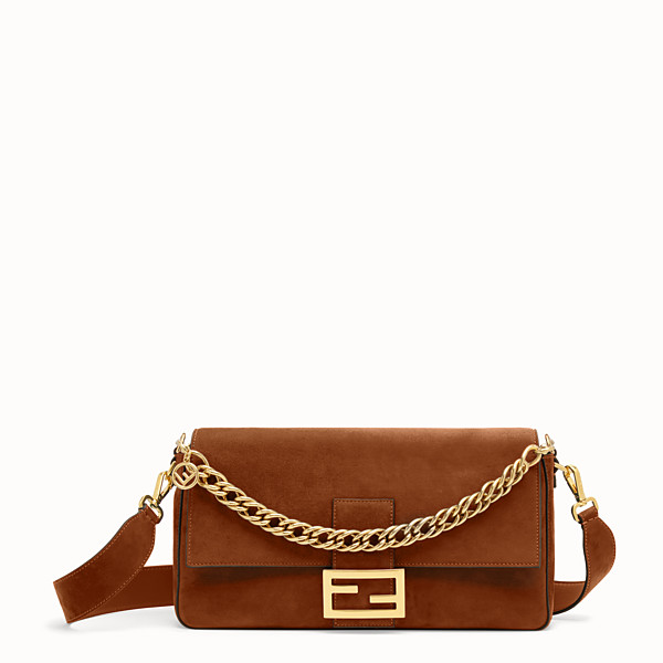FENDI BAGUETTE LARGE - Borsa in suede marrone - vista 1 thumbnail piccola