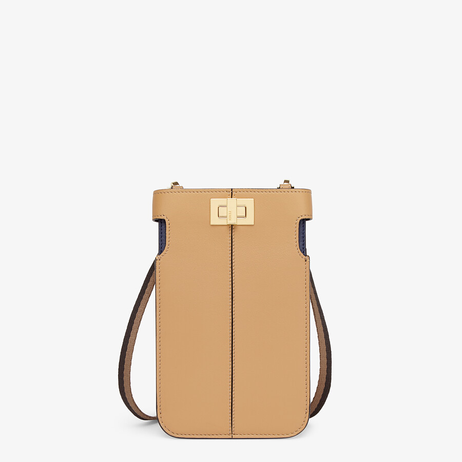 FENDI PEEK-A-PHONE - Beige leather pouch - view 1 detail