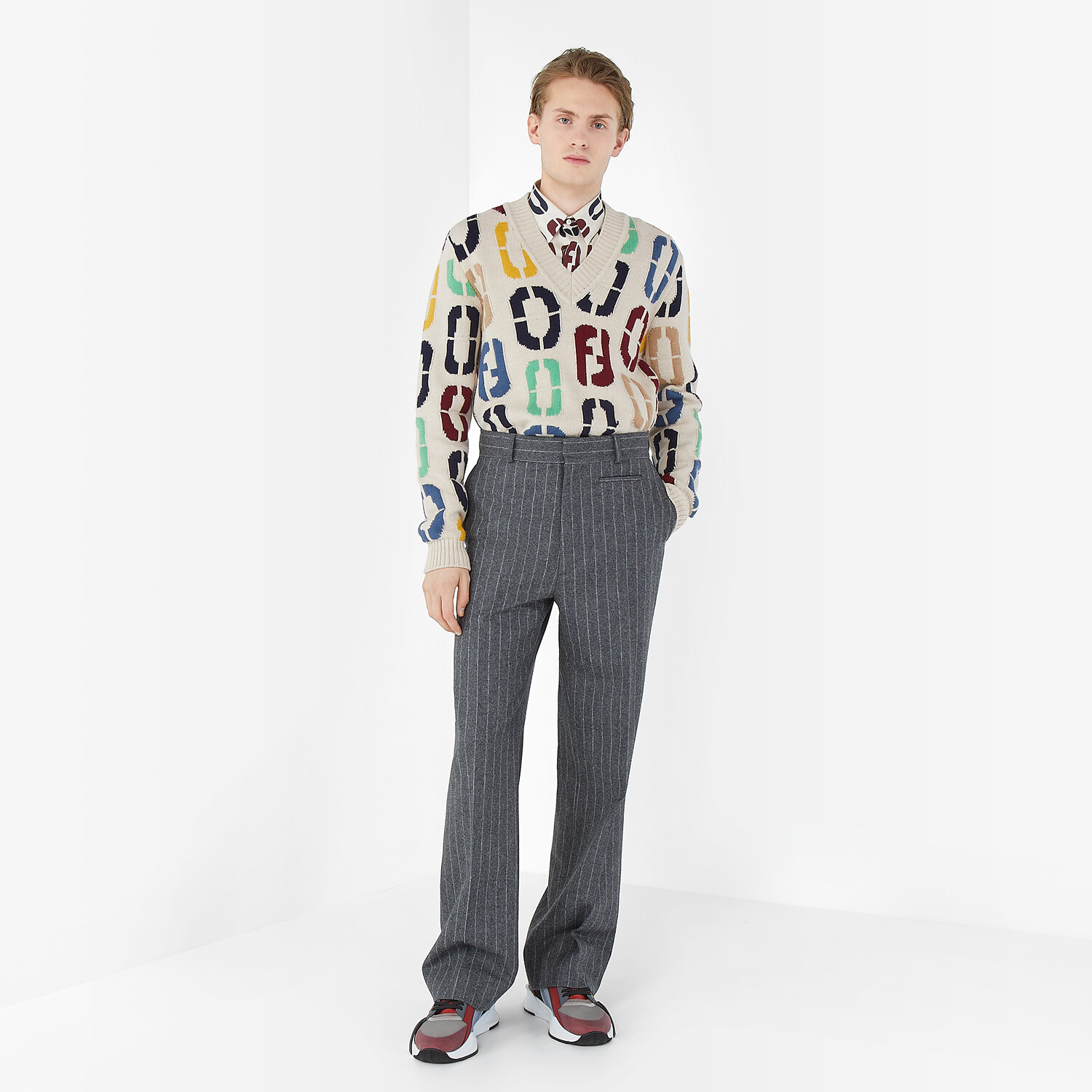 FENDI SHIRT - Multicolor silk shirt - view 4 detail