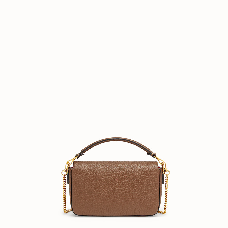 FENDI MINI BAGUETTE - Brown leather bag - view 3 detail