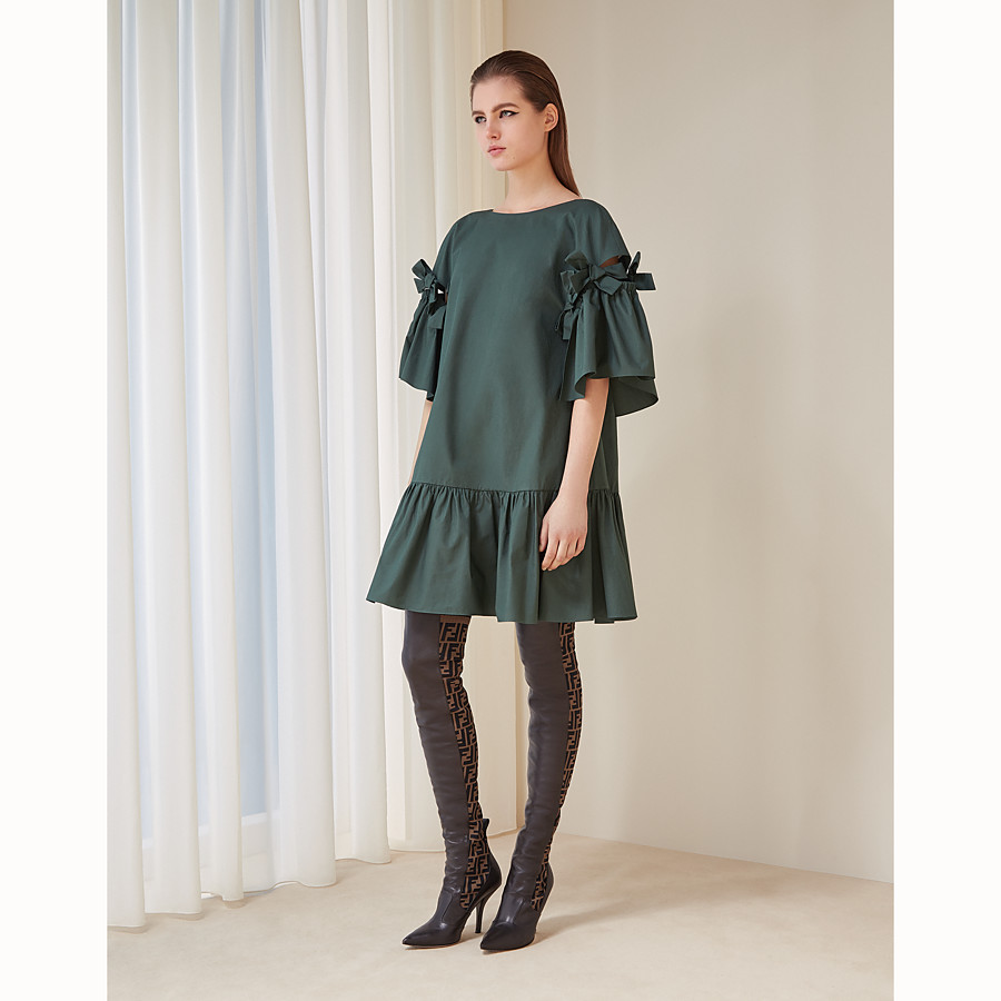 FENDI DRESS - Green cotton dress - view 4 detail