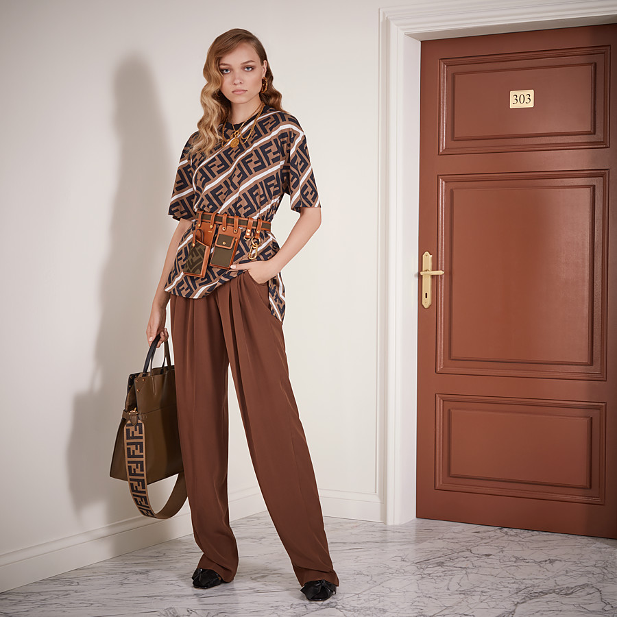 FENDI TROUSERS - Brown crêpe de Chine trousers - view 4 detail