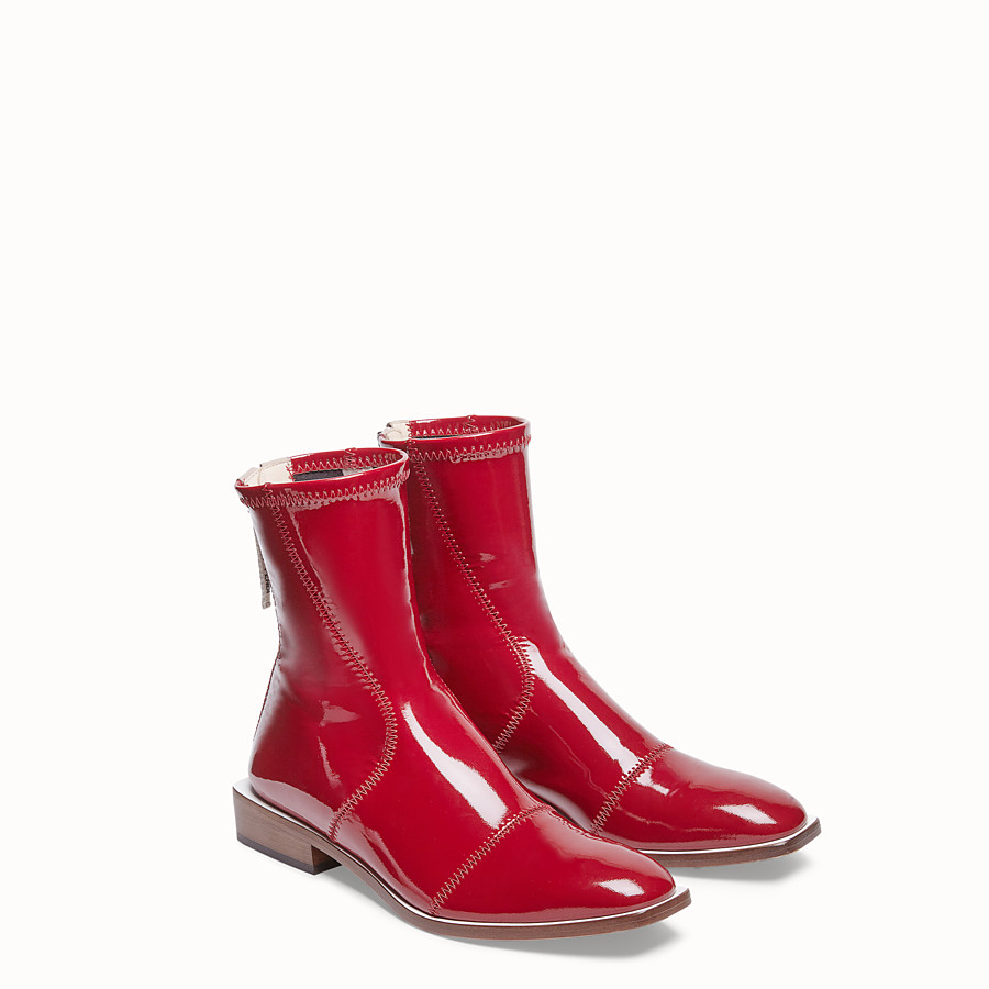 FENDI ANKLE BOOTS - Glossy red neoprene low ankle boots - view 4 detail