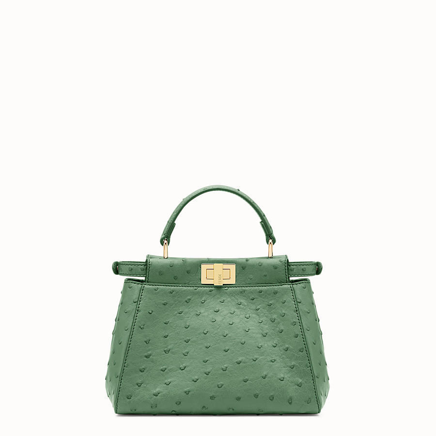FENDI PEEKABOO MINI - Green ostrich leather handbag. - view 3 detail