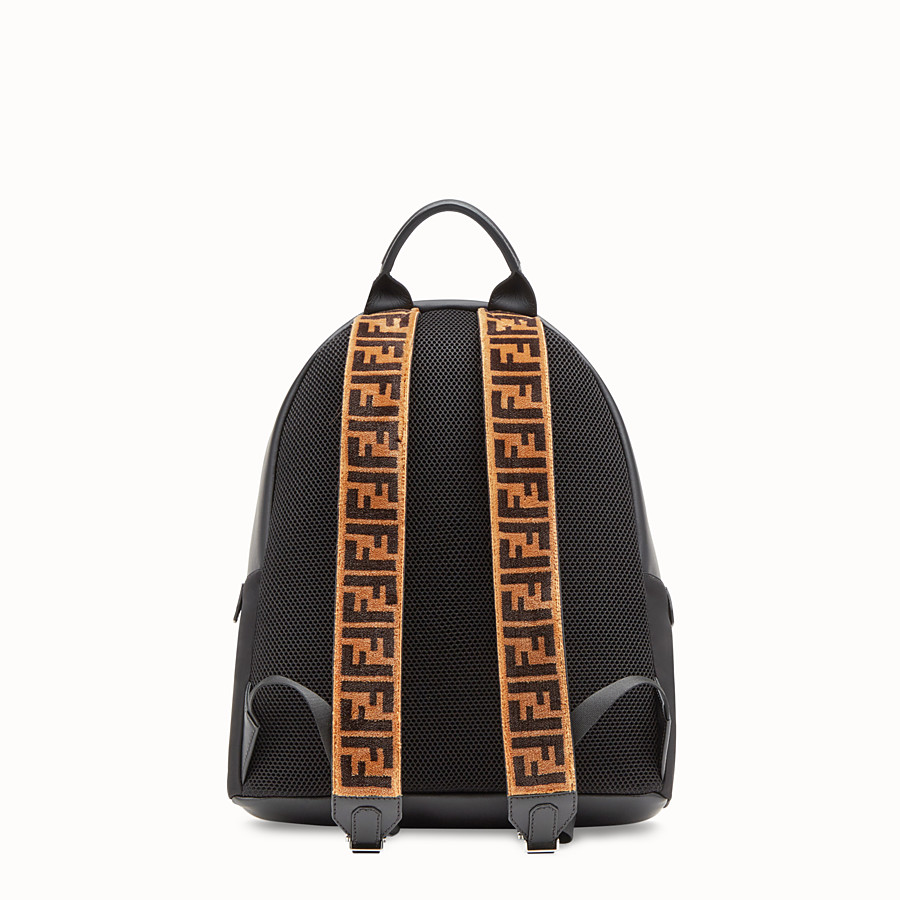 FENDI BACKPACK - Fabric and black leather backpack - view 3 detail
