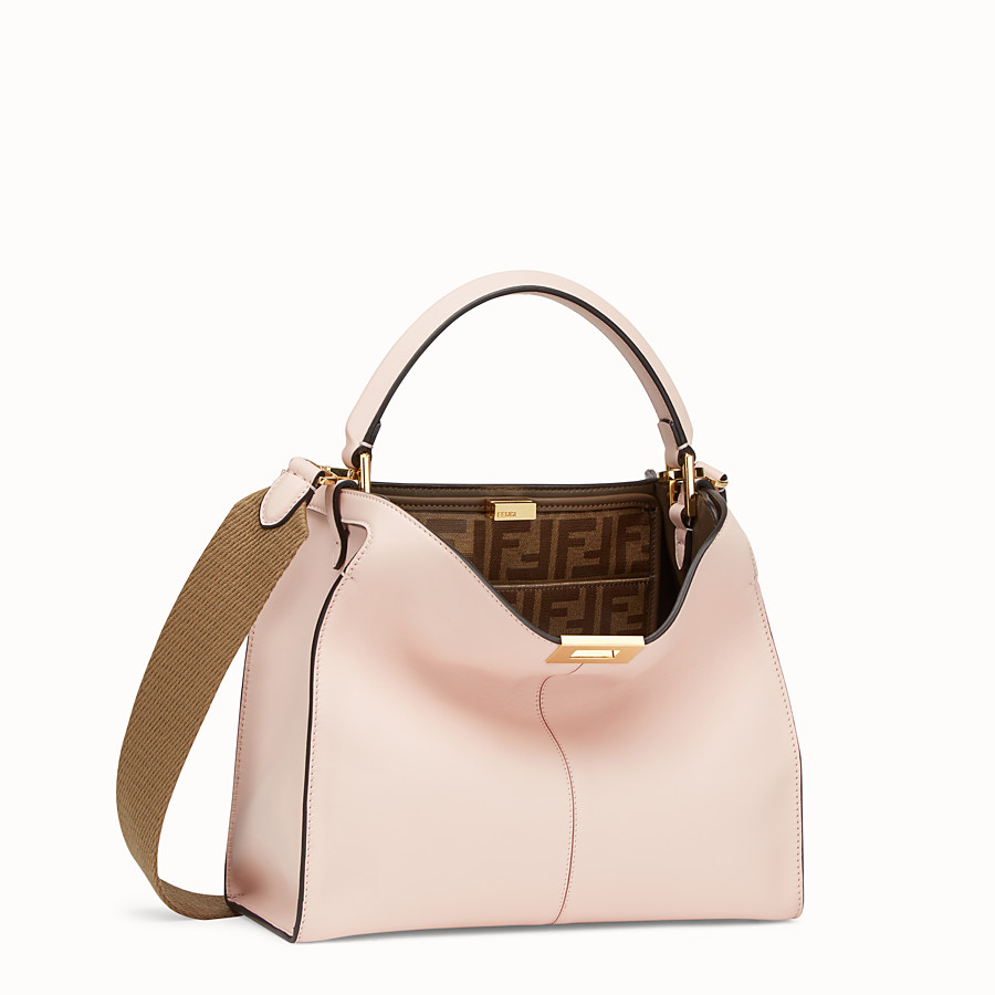 FENDI PEEKABOO X-LITE REGULAR - Pink leather bag - view 3 detail