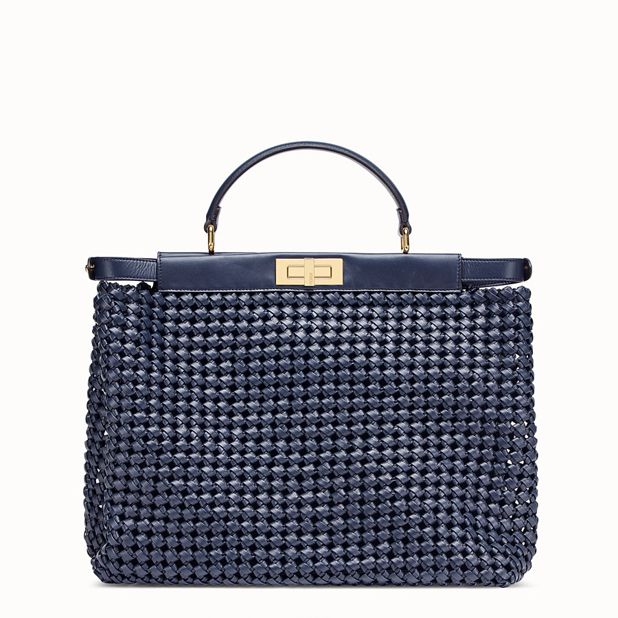 FENDI PEEKABOO ICONIC LARGE - Blue leather interlace bag - view 3 detail