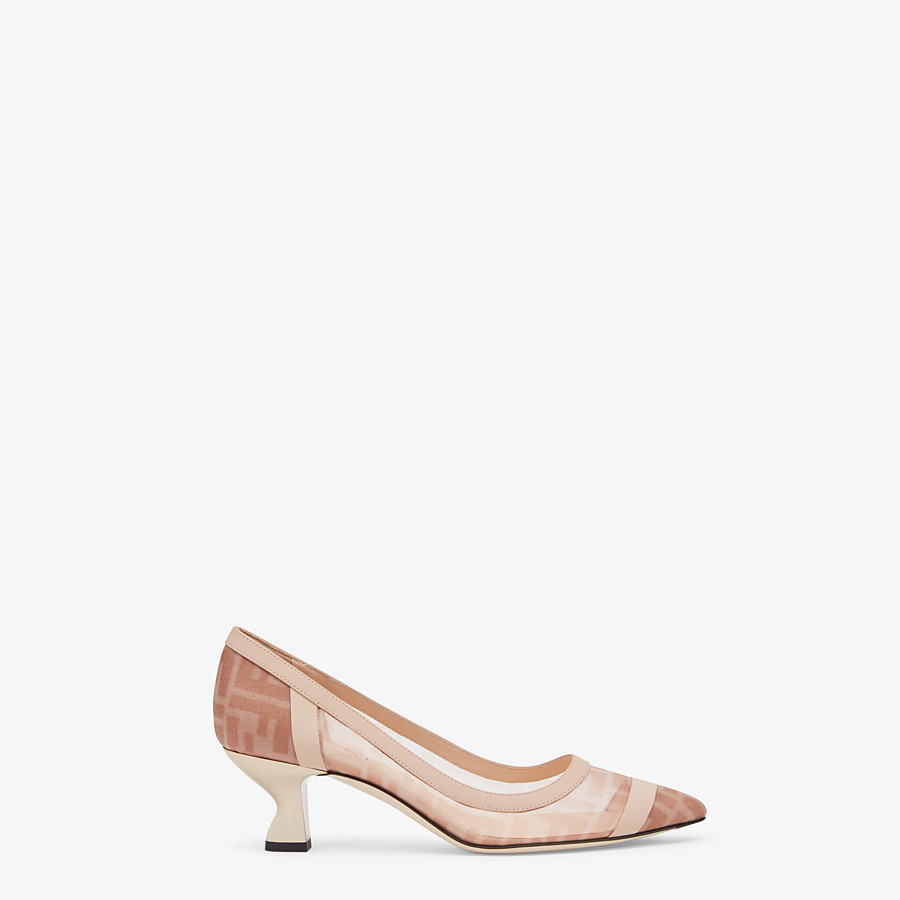 FENDI COLIBRÌ - Pink mesh and nude leather court shoes with medium heel - view 1 detail